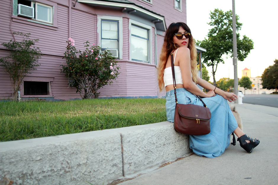 Zara top, vintage denim midi skirt, Fossil Preston Flap
