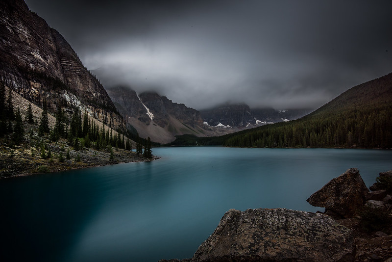 Moraine Lake on a cloudy and rainy morning