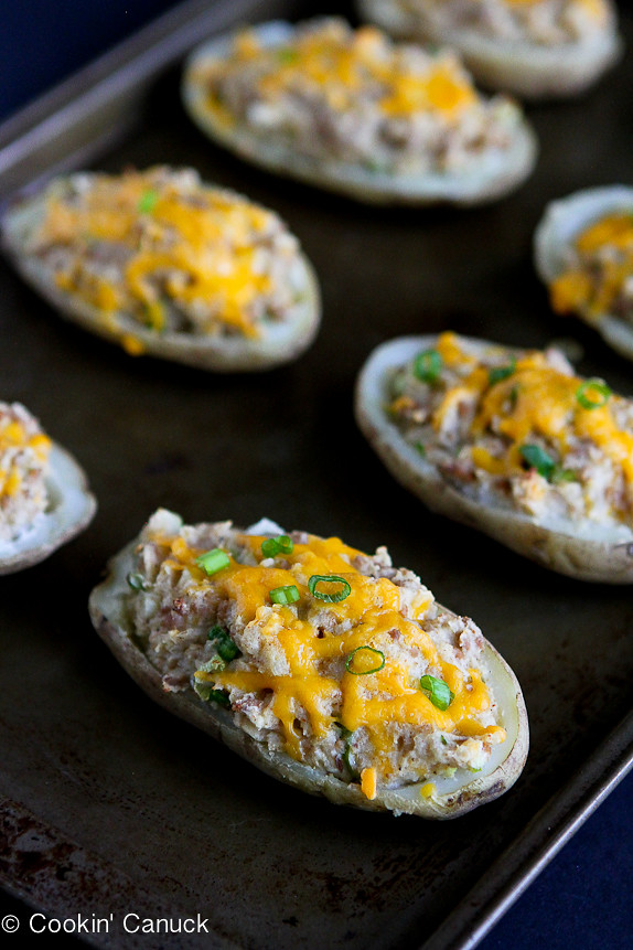 Turkey Taco Twice-Baked Potatoes...Switch up taco night with this crowd-pleaser.  250 calories and 6 Weight Watchers PP per serving. | cookincanuck.com #dinner #recipe