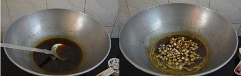 preparing jaggery syrup