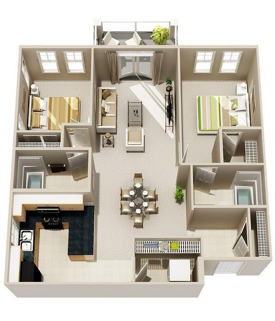 Thiết kế căn hộ chung cư 2 phòng ngủ 3