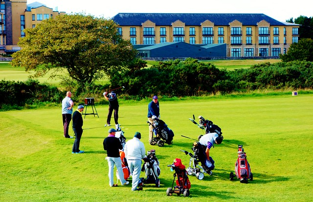 Play in progress at St.Andrews Links, Scotland