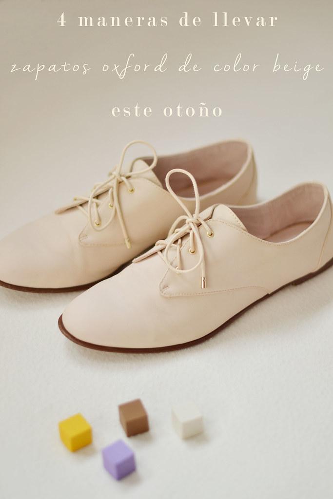 4 maneras de llevar zapatos oxfords de color beige este otoño