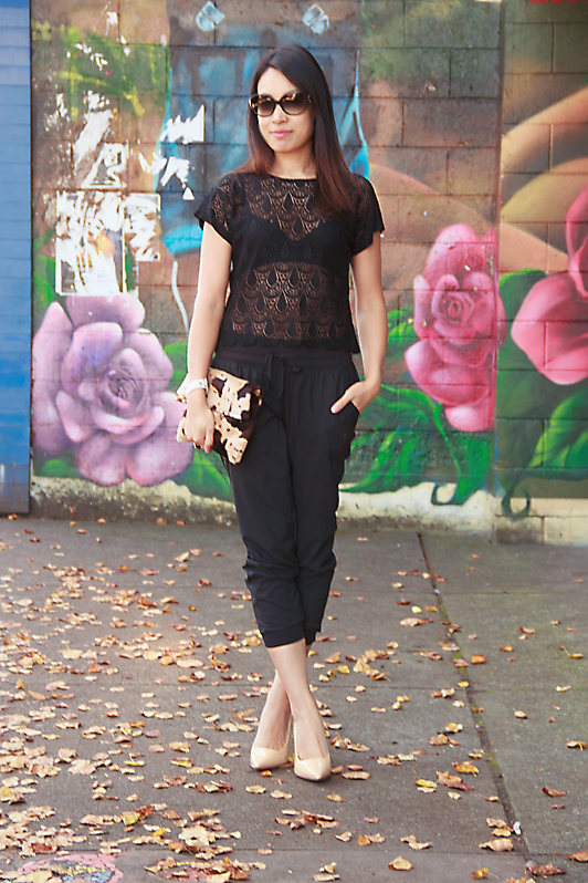 HRH Collection Gatsby lace tee, Old Navy cropped track pants, Pour La Victoire patent nude pumps, fall fashion, sporty, Vancouver, style, blogger