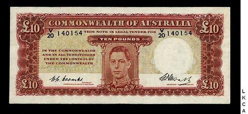 1949 Australia 10 Pounds banknote