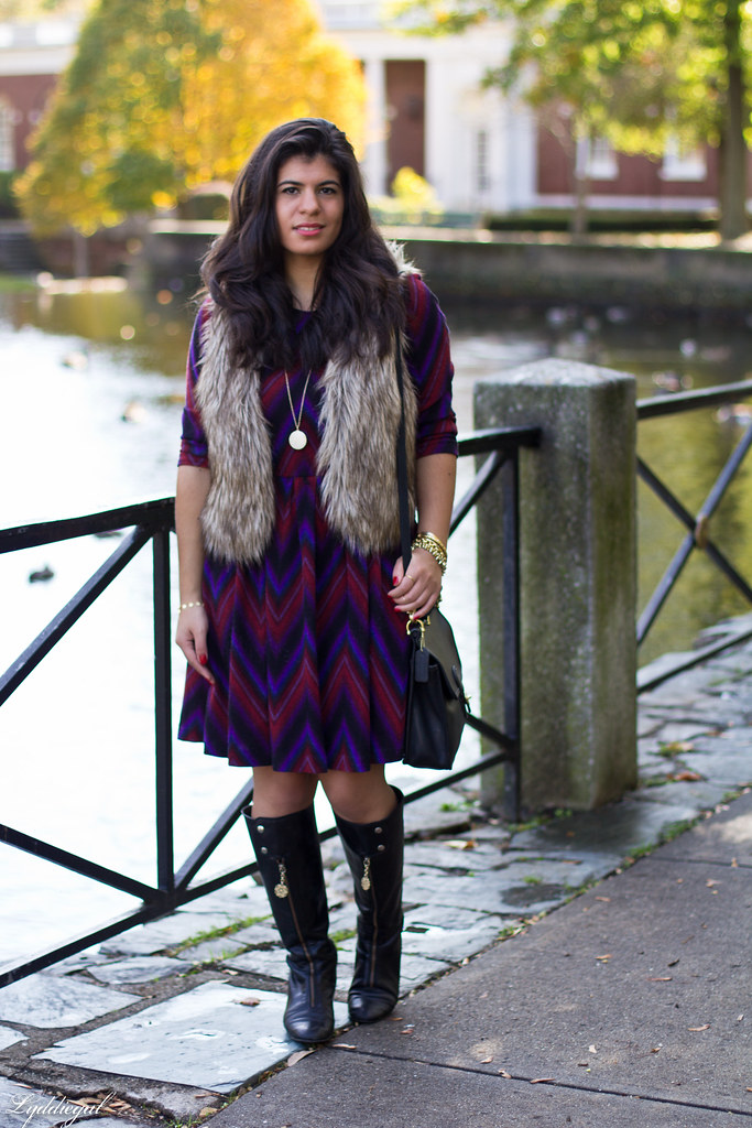 purple chevron dress, fur vest-5.jpg