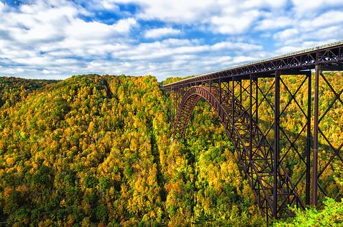 bridge autumn light shadow sky fall colors clouds season colorful arch pentax steel foliage westvirginia span newrivergorge k30 da18135wr