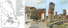 Macedonia, map & ruins of Philippi ancient city, Greece   #?acedonia