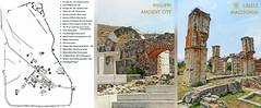 Macedonia, map & ruins of Philippi ancient city, Greece   #Μacedonia