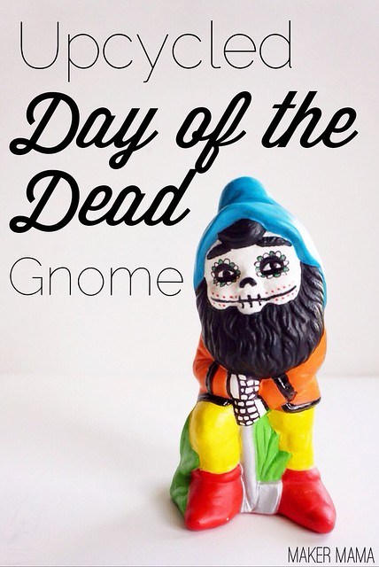 Upcycled Day of the Dead Gnome