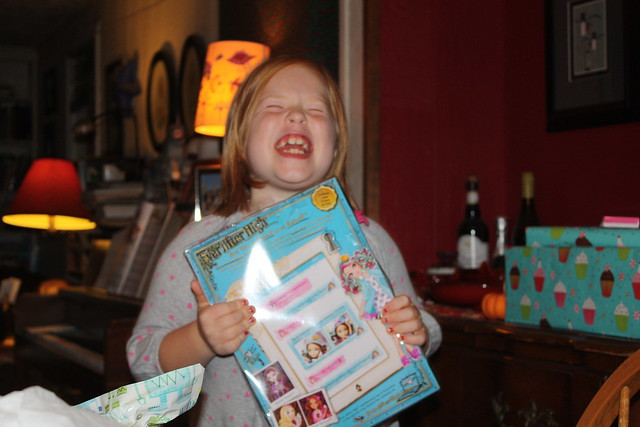 Sheer joy at opening a much desired gift