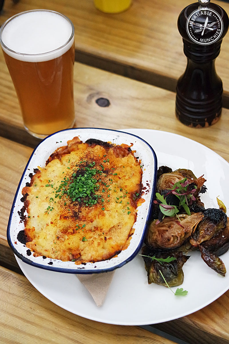 Wagyu beef cheek and tail cottage pie, cheesy mash, and roasted brussel sprouts, and Coopers Pale Ale, $25
