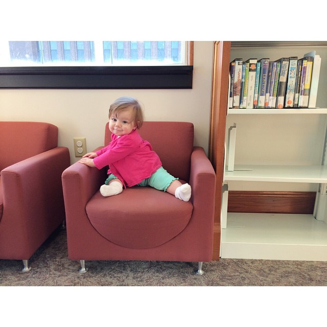 Baby's first library visit. Daddy called us library nerds. :) She loved it!