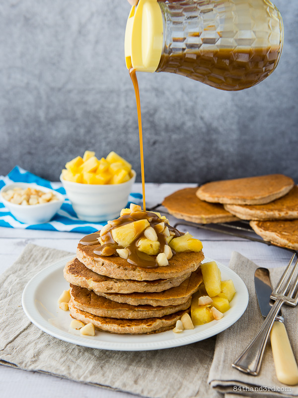 Pineapple Pancakes & Rum Caramel Syrup