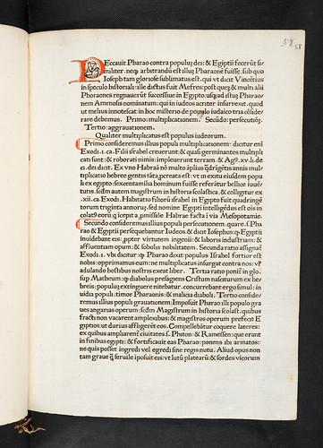 Human face drawn in initial in  Caracciolus, Robertus: Sermones de timore divinorum iudiciorum