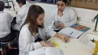 Aula de Ciências no laboratório- 6º ano (fev/17)