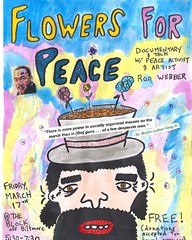Tonight, in Asheville North Carolina--a rough cut screening of my documentary, Flowers For Peace. Drawing by Jake Aschenbrenner