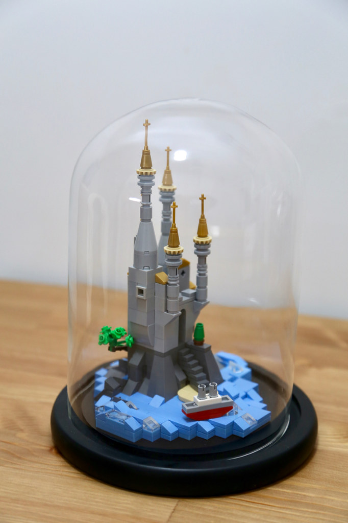 lego mirco castle in a glass dome (custom built Lego model)
