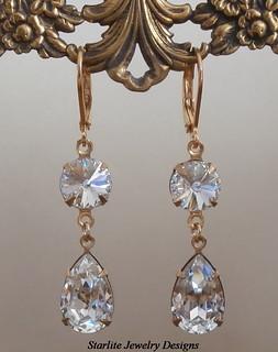 Vintage Swarovski Crystal Earrings ~ Bridal Bridesmaids Earrings Jewelry ~ Weddings Bridal Brides Bridesmaids Jewelry ~ Crystal Bridal Earrings