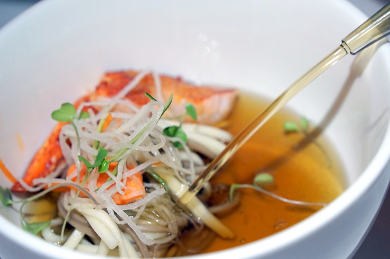 Entree  Cold soba noodle:Boston lobster consommé lumpfish tarama iced vegetables