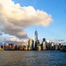 NYC with cloud over freedom tower