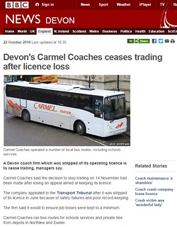 BBC News   Devon s Carmel Coaches ceases trading after licence loss