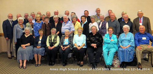 Click to see all the names plus a larger image of the 1954 AHS 60th Class Reunion group photo taken on September 13, 2014