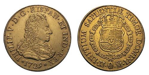 No. 410 SPAIN. Philip V, 1700-1746. 8 escudos