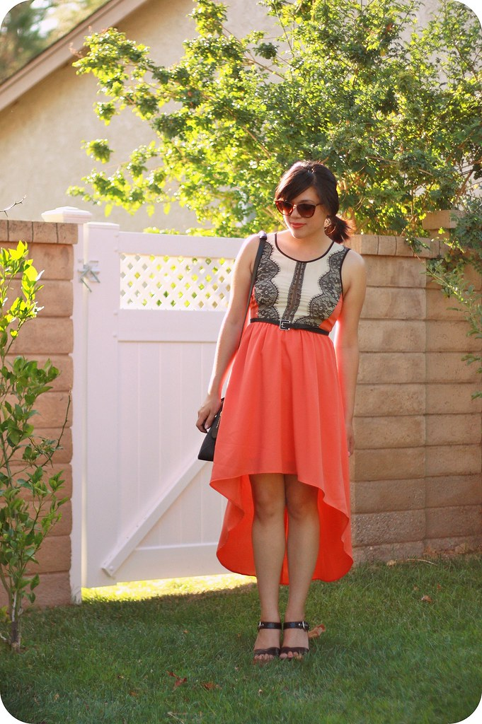 Style outfit post featuring coral high-low maxi dress with lace and cutout back, tortoiseshell cat-eye sunglasses, Kate Spade Saturday black satchel