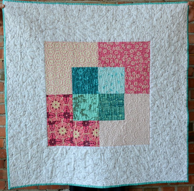 Canvas Baby Quilt with Pink and Aqua