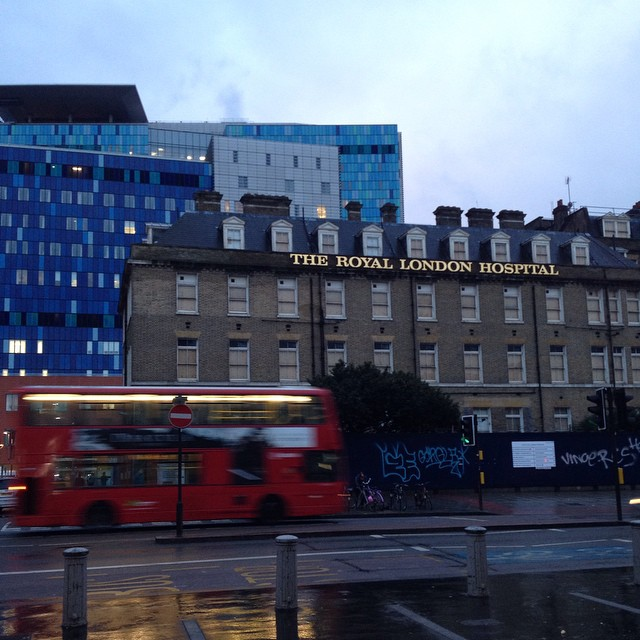 The new (blue) hospital behind the  old (now a listed building) #london #londonlove #rlh #whitechapel #nofilter