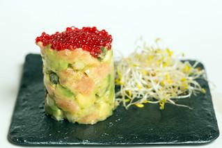 Tartar de salmón, de La Mancha en Madrid.