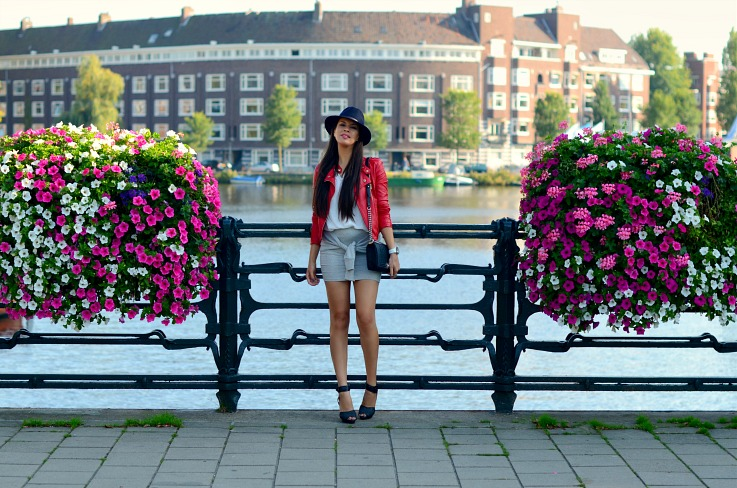 DSC_9616 Red Biker Jacket, Amsterdam Canals, Chanel Boy bag
