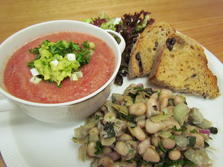White Bean and Artichoke Salad; Gazpacho