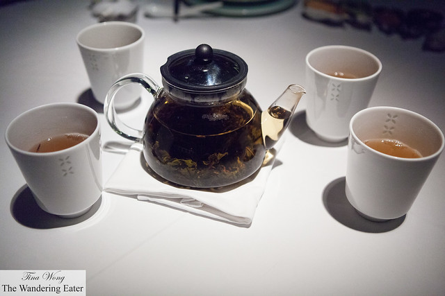 Our pot and cups of Iron Goddess Oolong Tea (鐵觀音)