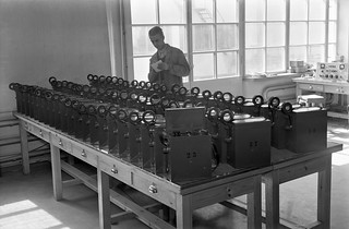 P12-12 short wave radio phones designed by Paavo Kajavo and made in Yleisradio's workshop, ca. 1940.