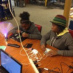 Kamari and Danielle troubleshooting electronics