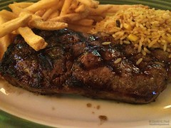 New York Strip Steak, Mexican Rice, and Fries