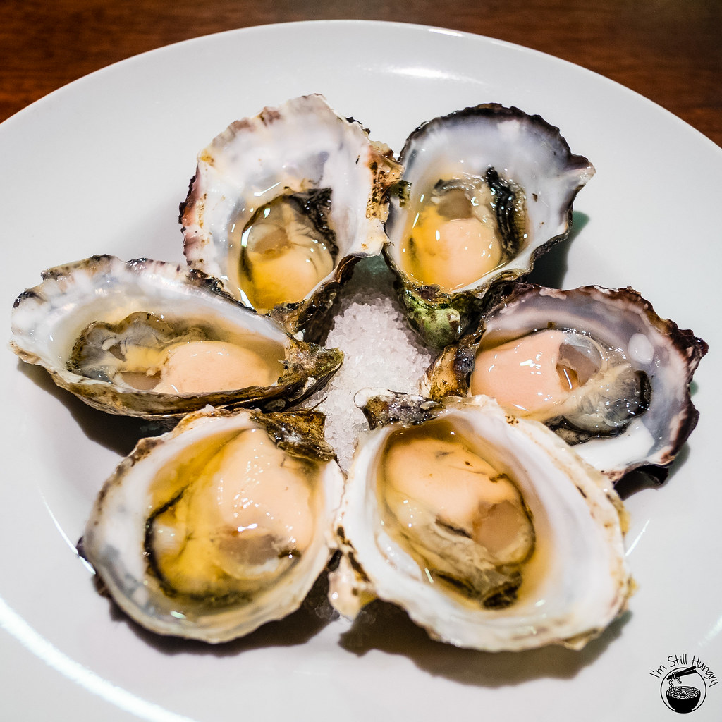 Sydney rock oysters w/kimchi consomme ($4 ea or $20 for 1/2 dozen)