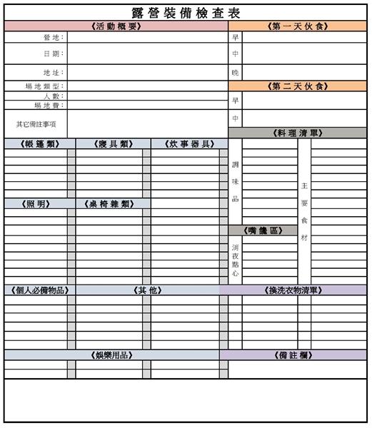 露營裝備檢查表