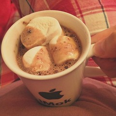 Hot coco with marshmallows. I should use a wider mug next time.