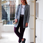 Grey striped blazer with loose fit pants