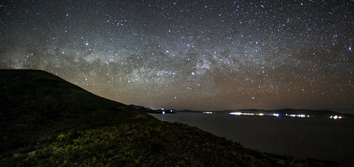 Part f the Milkyway over the Minor Lake of Titicaca, Boliivia