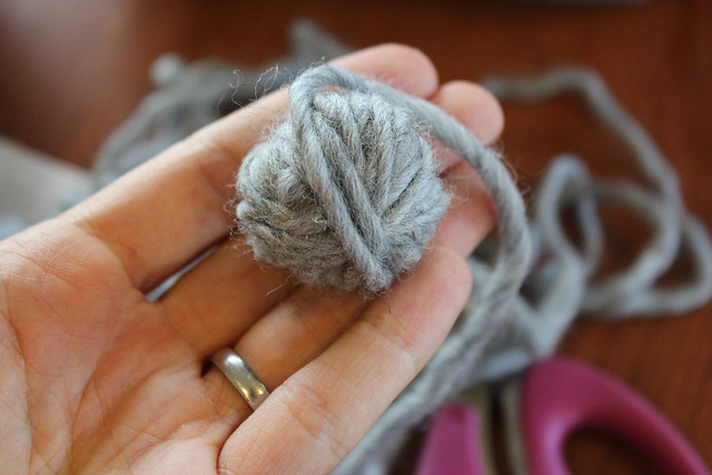Fold yarn over and begin wrapping into a ball.