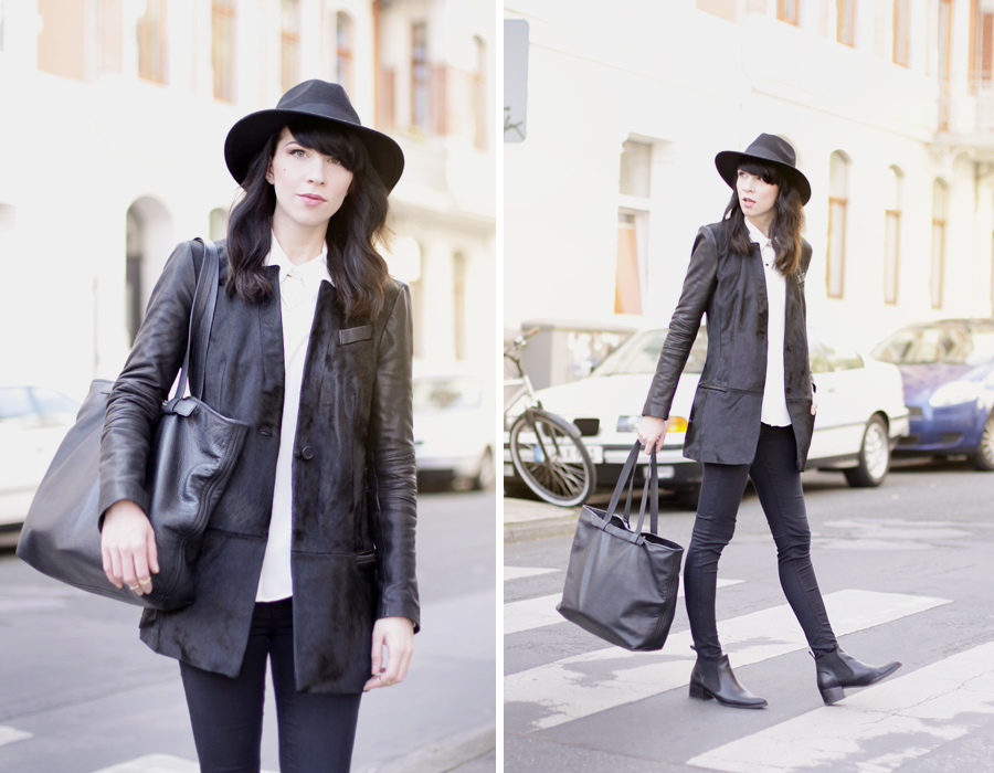 Muubaa coat black hat ootd outfit fall autumn styling dark cool city look cats & dogs ricarda schernus 6