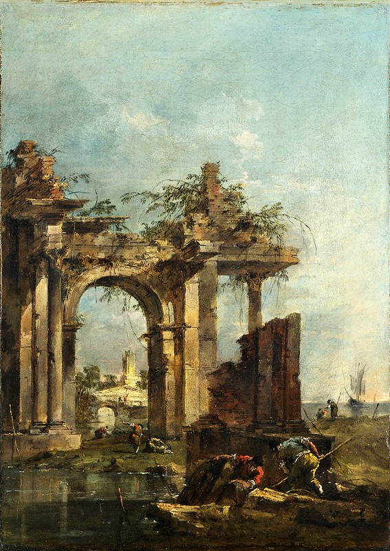 Francesco Guardi - A Caprice with Ruins on the Seashore (c.1775)