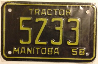 MANITOBA 1958 ---TRACTOR PLATE