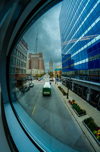 city urban window wisconsin october downtown cityscape fisheye milwaukee theblue fisheyelens skywalk 2014 wisconsinavenue theblueat310wwisconsin