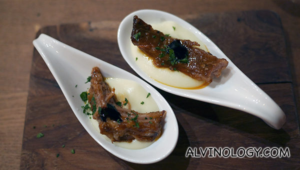 Carrilleras de Cerdo Iberico - braised iberico pork jowl in Pedro Ximenez, with potato puree