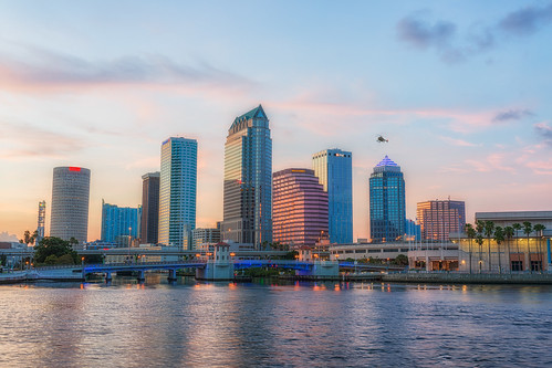 sunset reflection skyline tampa effects other florida helicopter vehicles beercan processing nik hdr hillsboroughriver photomatix sykesbuilding plattstreetbridge rivergatebuilding